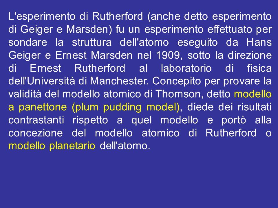 L'esperimento di Rutherford (anche detto esperimento di Geiger e Marsden) fu un esperimento effettuato per sondare la struttura dell'atomo eseguito da