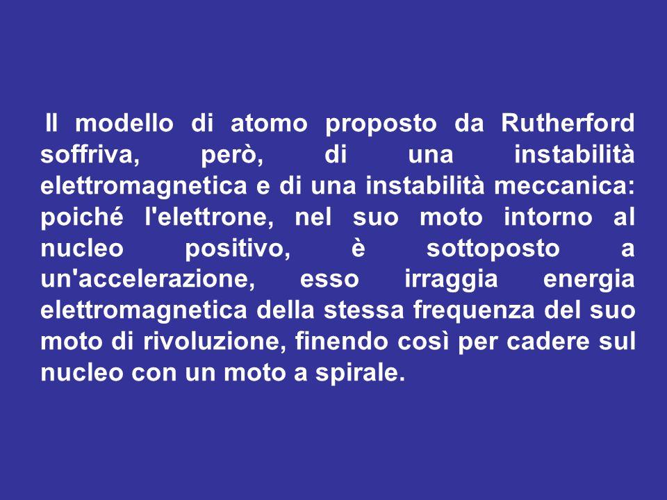 Il modello di atomo proposto da Rutherford soffriva, però, di una instabilità elettromagnetica e di una instabilità meccanica: poiché l'elettrone, nel