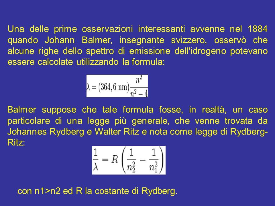 Una delle prime osservazioni interessanti avvenne nel 1884 quando Johann Balmer, insegnante svizzero, osservò che alcune righe dello spettro di emissi
