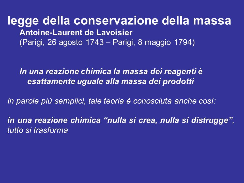 legge della conservazione della massa Antoine-Laurent de Lavoisier (Parigi, 26 agosto 1743 – Parigi, 8 maggio 1794) In una reazione chimica la massa d