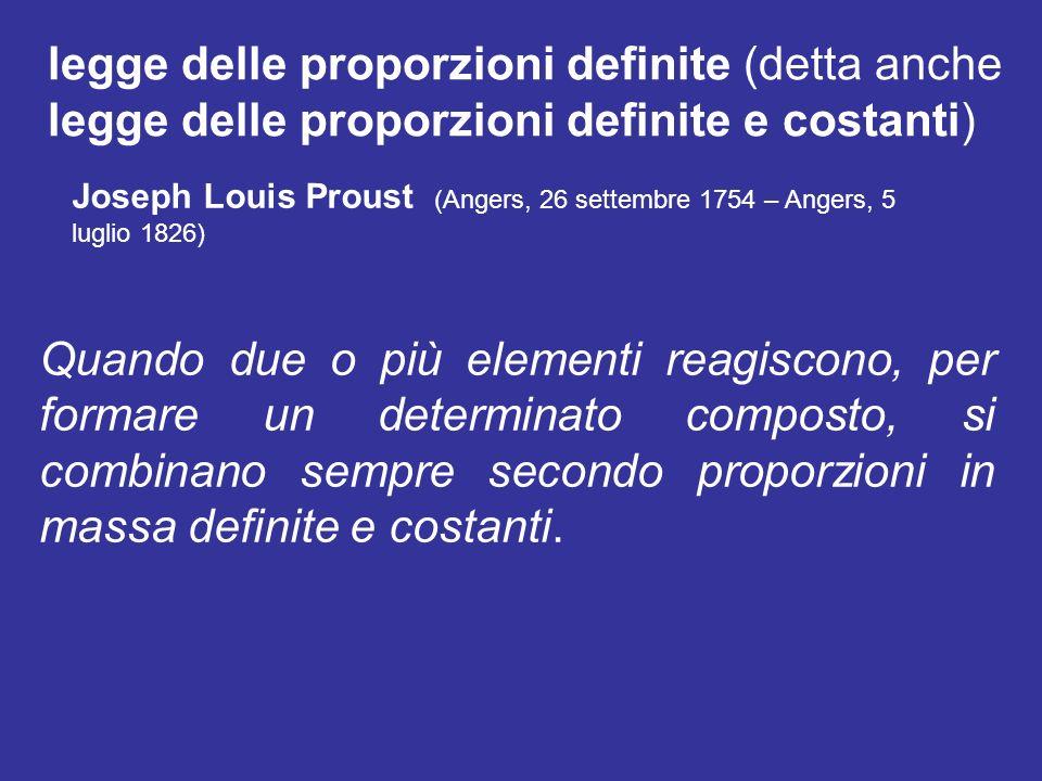 legge delle proporzioni definite (detta anche legge delle proporzioni definite e costanti) Quando due o più elementi reagiscono, per formare un determ