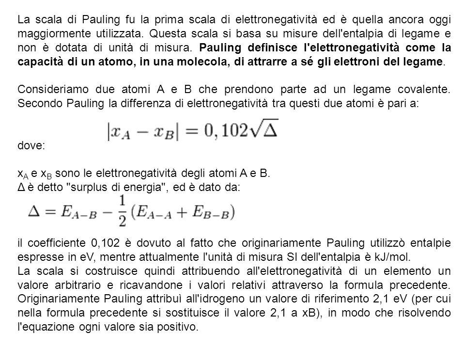 La scala di Pauling fu la prima scala di elettronegatività ed è quella ancora oggi maggiormente utilizzata. Questa scala si basa su misure dell'entalp