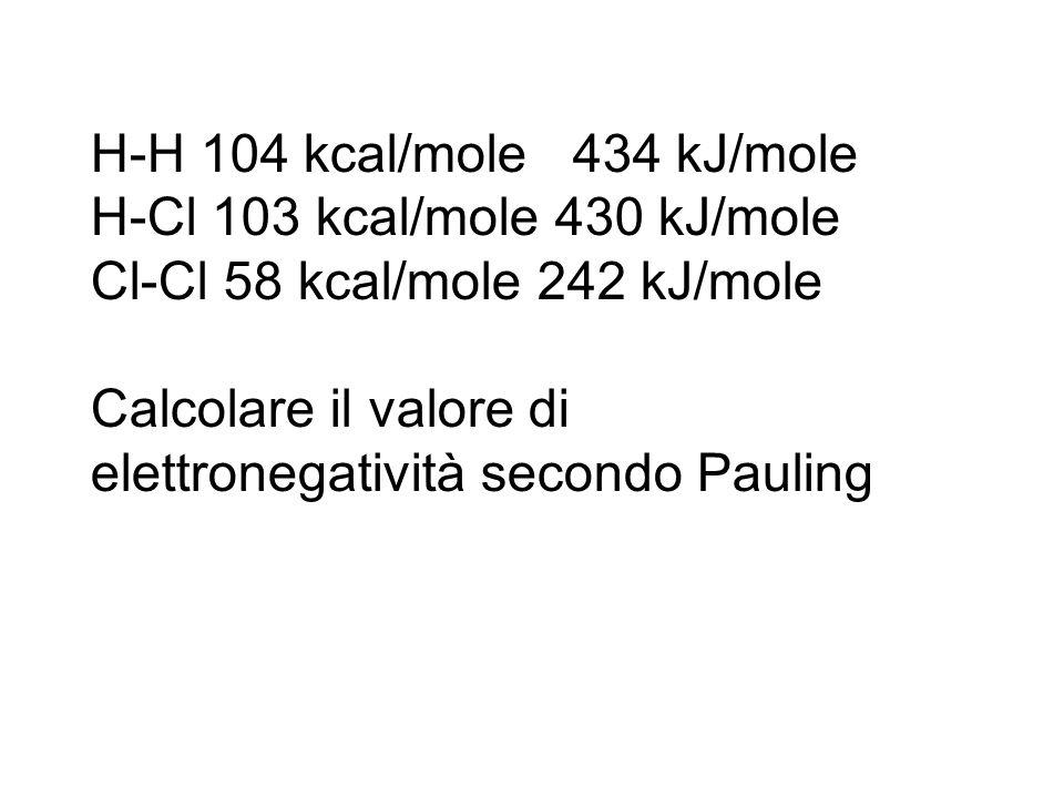 H-H 104 kcal/mole 434 kJ/mole H-Cl 103 kcal/mole 430 kJ/mole Cl-Cl 58 kcal/mole 242 kJ/mole Calcolare il valore di elettronegatività secondo Pauling
