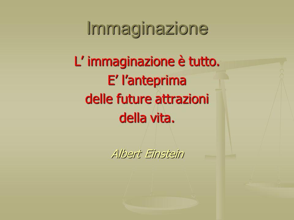Immaginazione L immaginazione è tutto. E lanteprima delle future attrazioni della vita. Albert Einstein