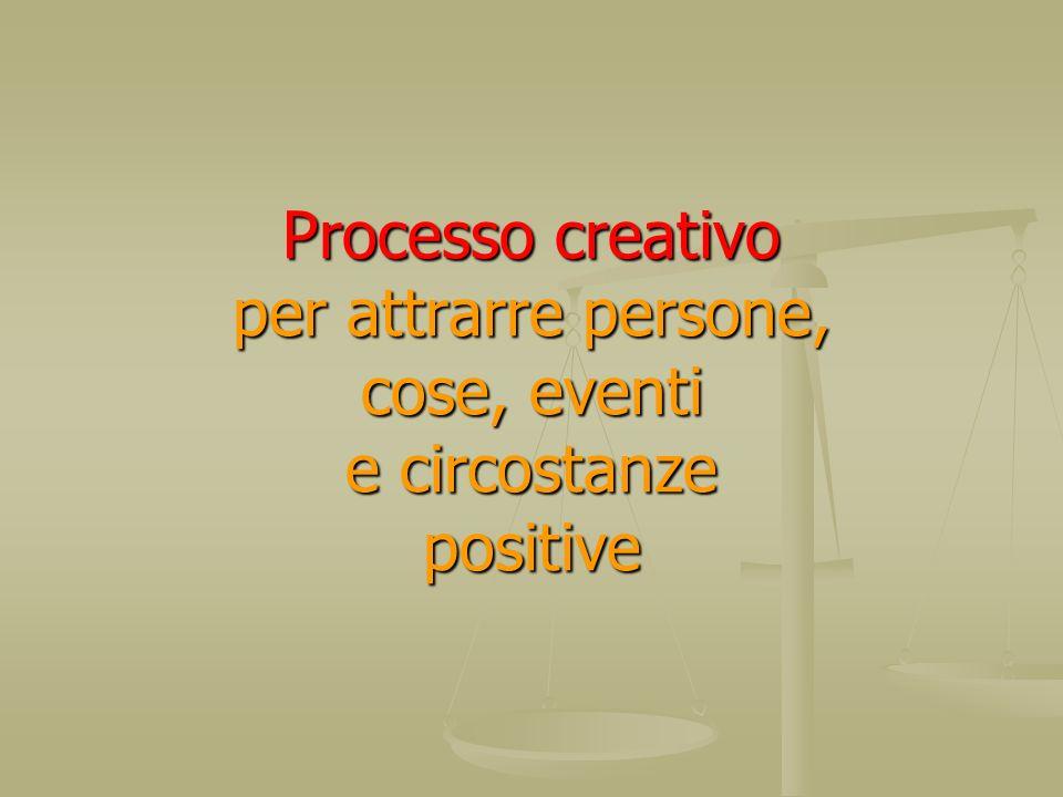 Processo creativo per attrarre persone, cose, eventi e circostanze positive