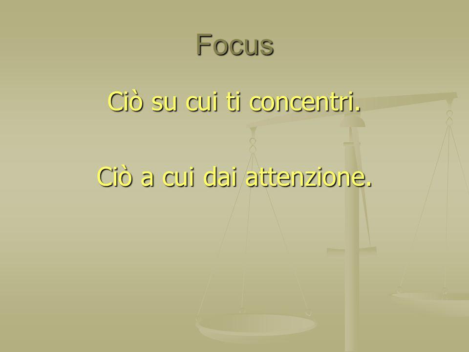 Focus Ciò su cui ti concentri. Ciò a cui dai attenzione.