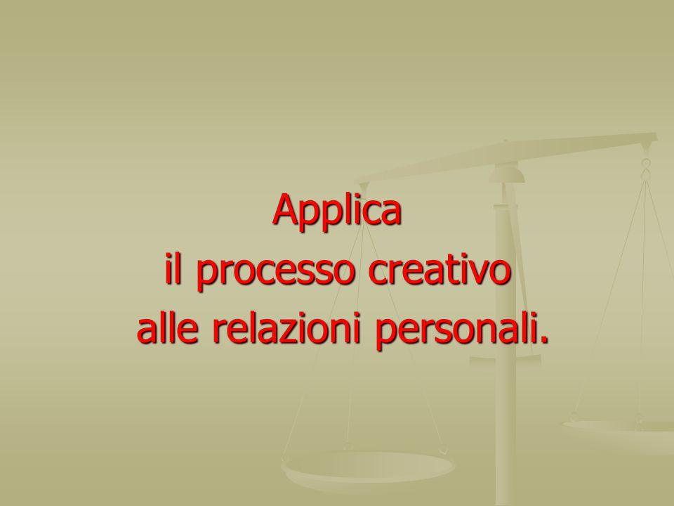 Applica il processo creativo alle relazioni personali. alle relazioni personali.