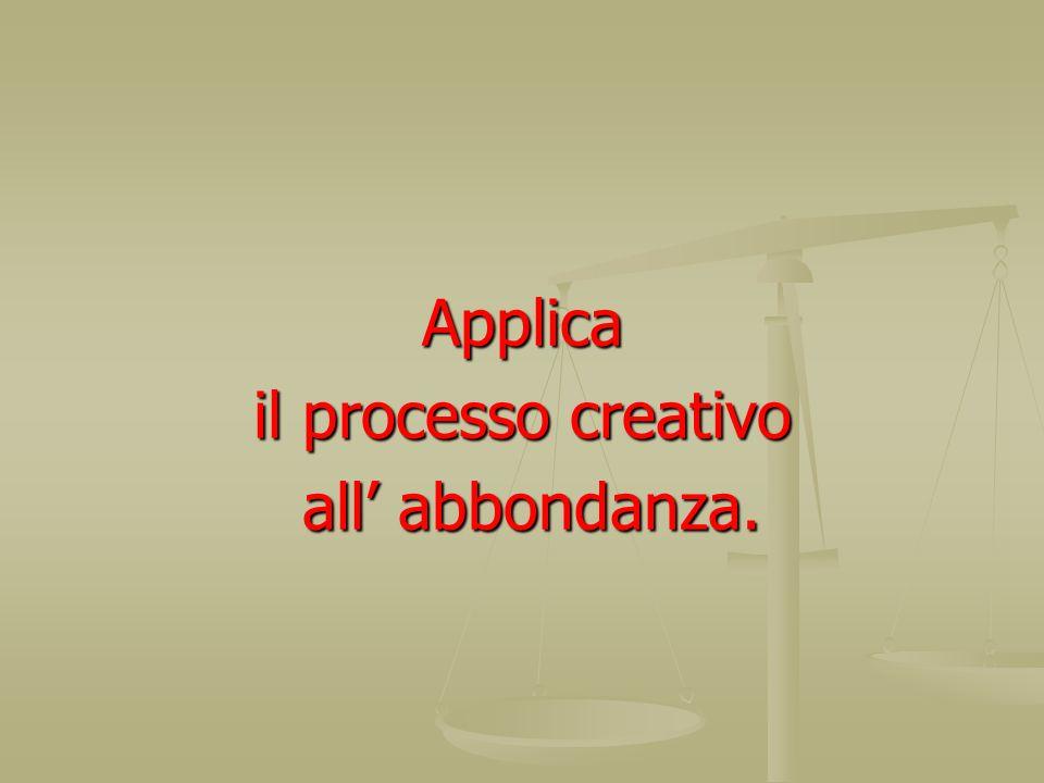 Applica il processo creativo all abbondanza. all abbondanza.