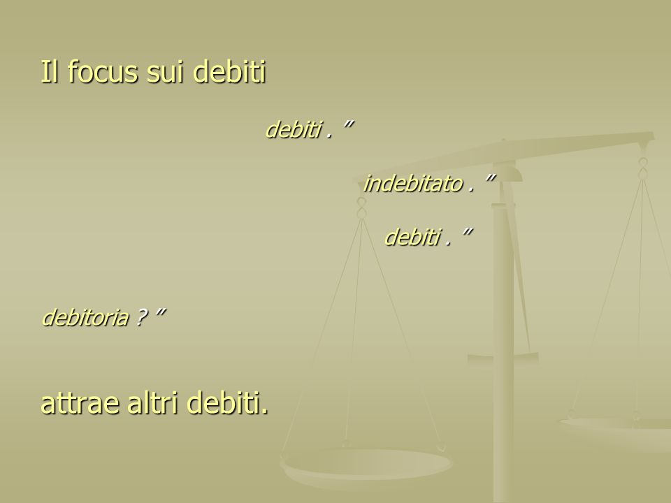 Il focus sui debiti debiti. debiti. indebitato. indebitato. debiti. debiti. debitoria ? debitoria ? attrae altri debiti.