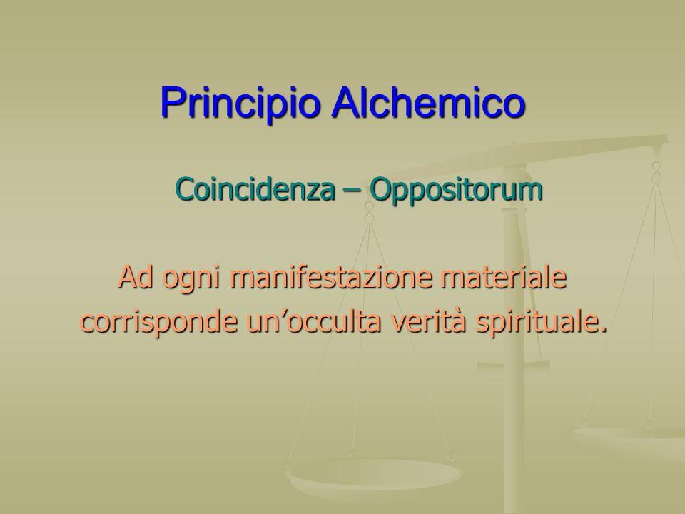 Principio Alchemico Coincidenza – Oppositorum Coincidenza – Oppositorum Ad ogni manifestazione materiale Ad ogni manifestazione materiale corrisponde