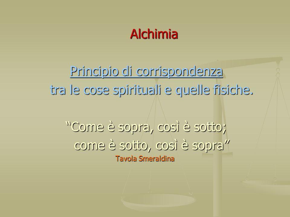 Alchimia Alchimia Principio di corrispondenza Principio di corrispondenza tra le cose spirituali e quelle fisiche. tra le cose spirituali e quelle fis