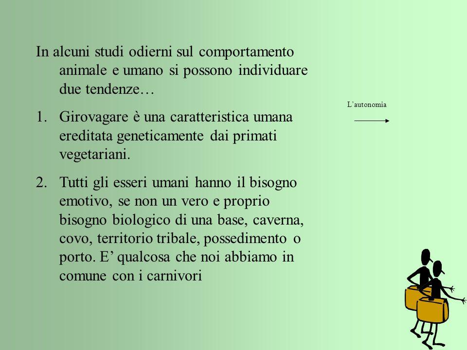 In alcuni studi odierni sul comportamento animale e umano si possono individuare due tendenze… 1.Girovagare è una caratteristica umana ereditata genet