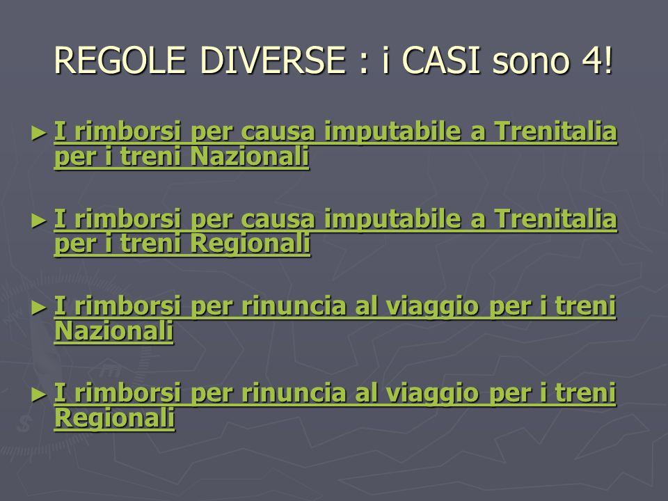 REGOLE DIVERSE : i CASI sono 4! I rimborsi per causa imputabile a Trenitalia per i treni Nazionali I rimborsi per causa imputabile a Trenitalia per i