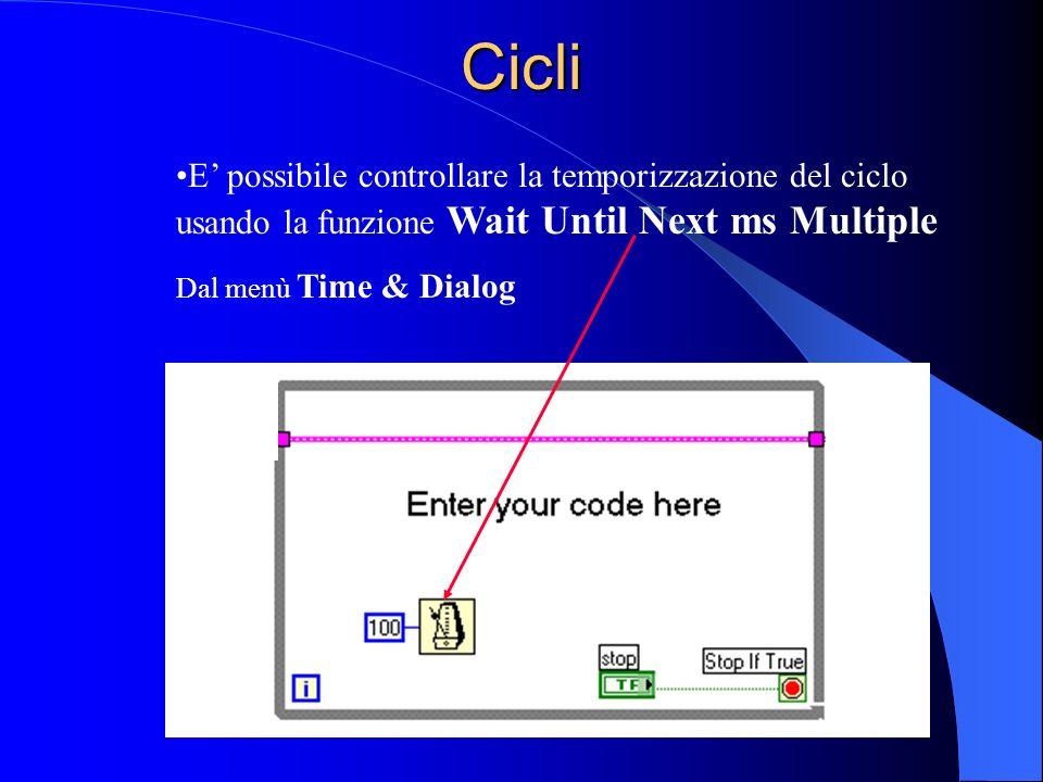 Cicli E possibile controllare la temporizzazione del ciclo usando la funzione Wait Until Next ms Multiple Dal menù Time & Dialog
