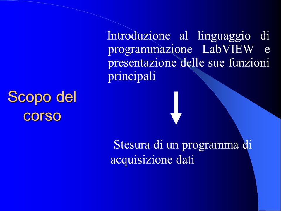 Scopo del corso Introduzione al linguaggio di programmazione LabVIEW e presentazione delle sue funzioni principali Stesura di un programma di acquisizione dati