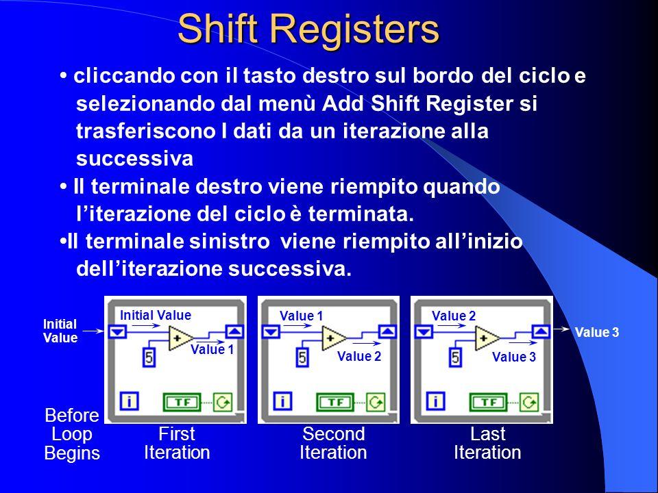 cliccando con il tasto destro sul bordo del ciclo e selezionando dal menù Add Shift Register si trasferiscono I dati da un iterazione alla successiva Il terminale destro viene riempito quando literazione del ciclo è terminata.