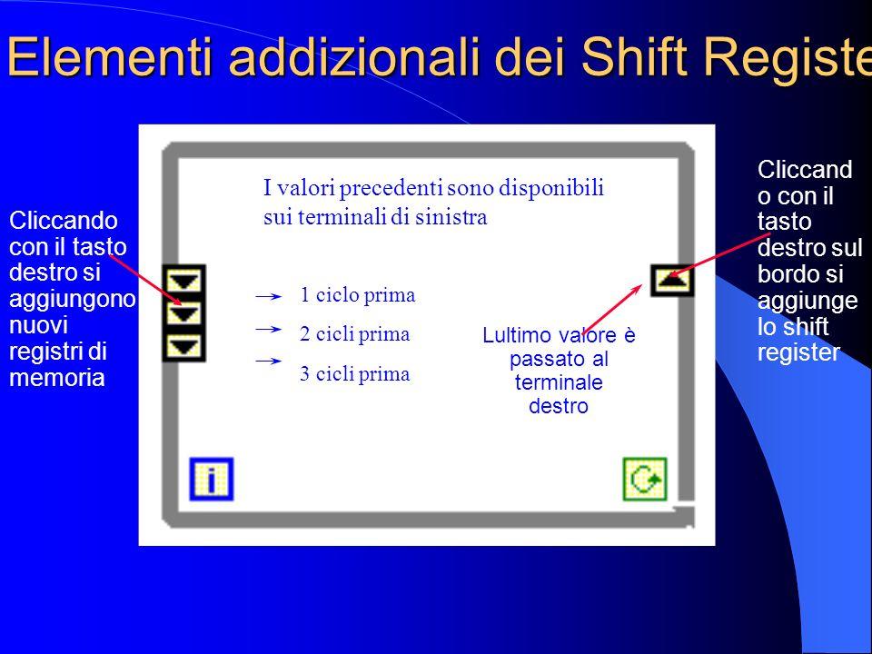 Elementi addizionali dei Shift Register Lultimo valore è passato al terminale destro Cliccando con il tasto destro si aggiungono nuovi registri di memoria Cliccand o con il tasto destro sul bordo si aggiunge lo shift register 1 ciclo prima 2 cicli prima 3 cicli prima I valori precedenti sono disponibili sui terminali di sinistra