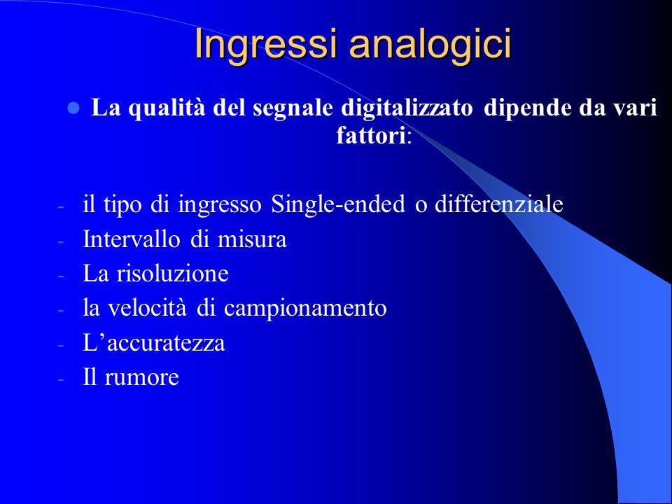 Ingressi analogici La qualità del segnale digitalizzato dipende da vari fattori: - il tipo di ingresso Single-ended o differenziale - Intervallo di misura - La risoluzione - la velocità di campionamento - Laccuratezza - Il rumore