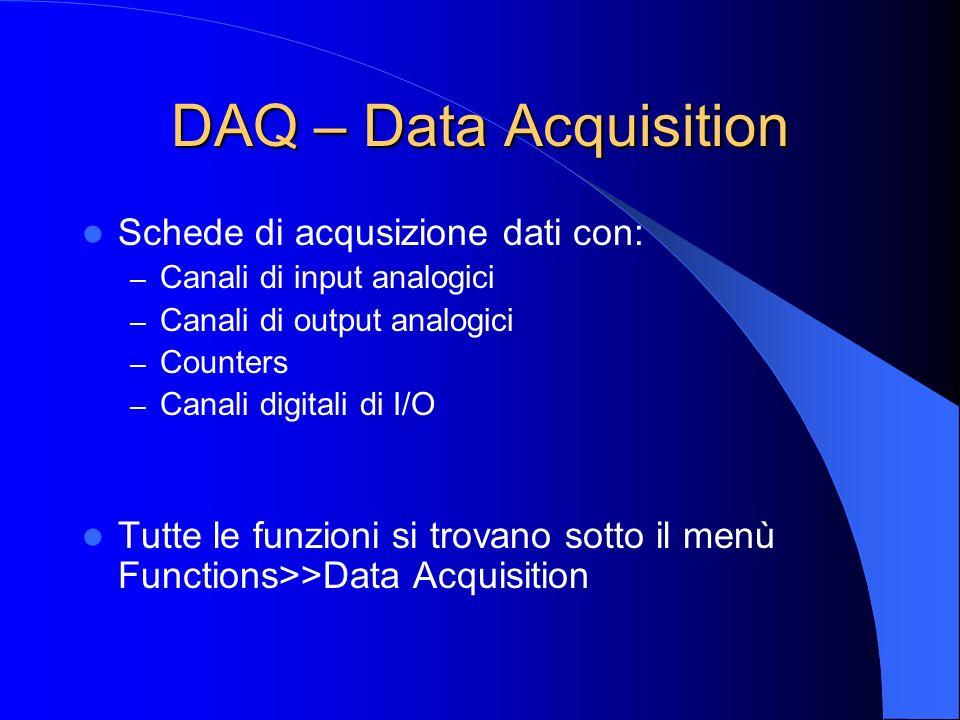 DAQ – Data Acquisition Schede di acqusizione dati con: – Canali di input analogici – Canali di output analogici – Counters – Canali digitali di I/O Tutte le funzioni si trovano sotto il menù Functions>>Data Acquisition