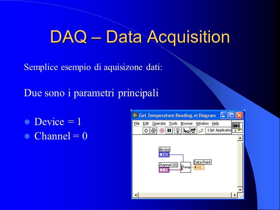 DAQ – Data Acquisition Semplice esempio di aquisizone dati: Due sono i parametri principali Device = 1 Channel = 0