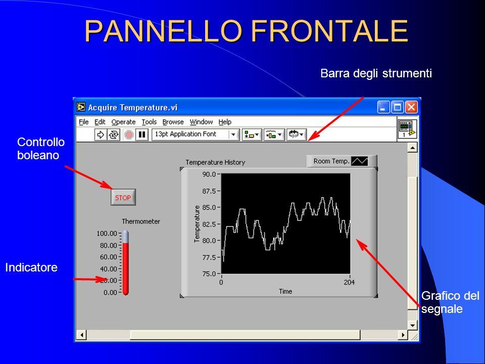 Controllo boleano Indicatore Grafico del segnale Barra degli strumenti PANNELLO FRONTALE