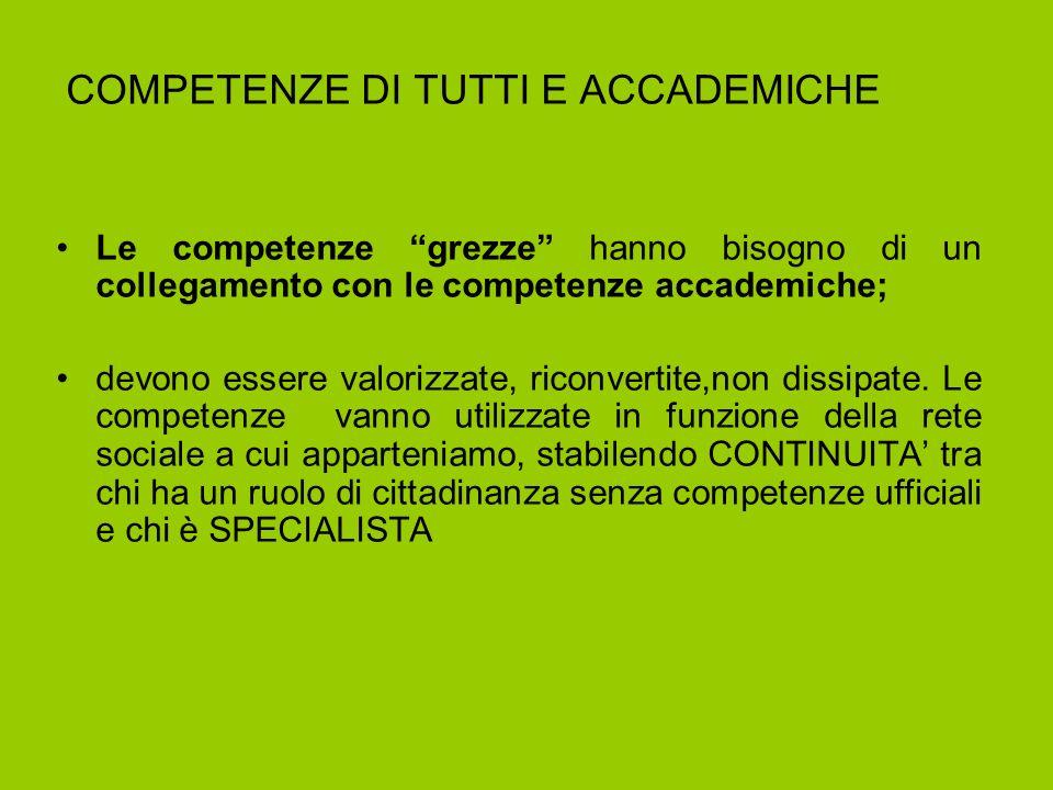 COMPETENZE DI TUTTI E ACCADEMICHE Le competenze grezze hanno bisogno di un collegamento con le competenze accademiche; devono essere valorizzate, riconvertite,non dissipate.