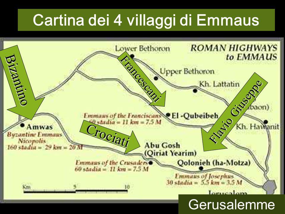 La localizzazione di Emmaus ha 4 tradizioni diverse, tutte ad ovest di Gerusalemme. Forse è un invito a percorrere il proprio itinerario di FEDE, CAMM