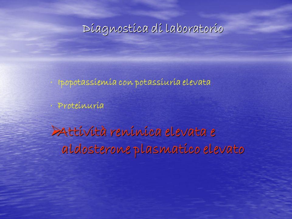· Ipopotassiemia con potassiuria elevata · Proteinuria Attività reninica elevata e Attività reninica elevata e aldosterone plasmatico elevato aldoster