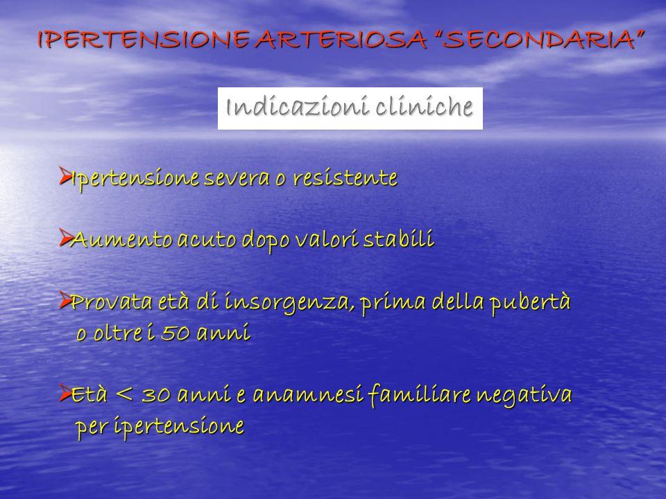 Indicazioni cliniche Ipertensione severa o resistente Ipertensione severa o resistente Aumento acuto dopo valori stabili Aumento acuto dopo valori sta