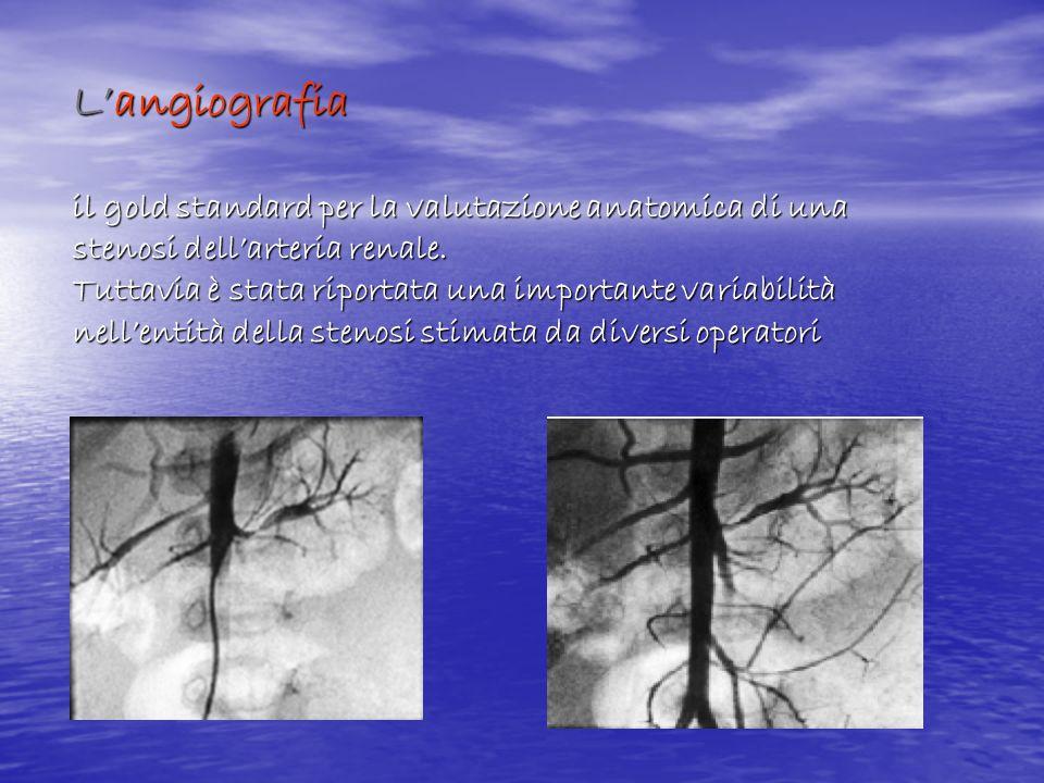Langiografia il gold standard per la valutazione anatomica di una stenosi dellarteria renale. Tuttavia è stata riportata una importante variabilità ne