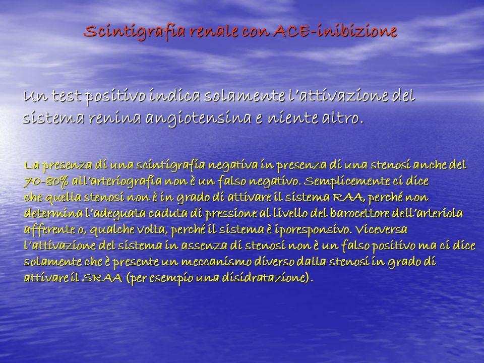 Scintigrafia renale con ACE-inibizione Un test positivo indica solamente lattivazione del sistema renina angiotensina e niente altro. La presenza di u