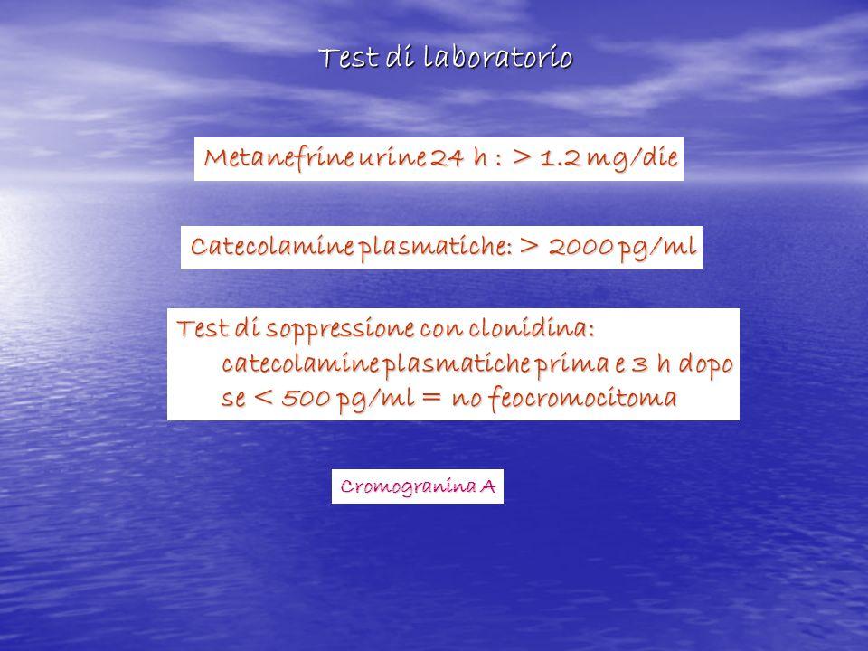 Metanefrine urine 24 h : > 1.2 mg/die Catecolamine plasmatiche: > 2000 pg/ml Test di soppressione con clonidina: catecolamine plasmatiche prima e 3 h