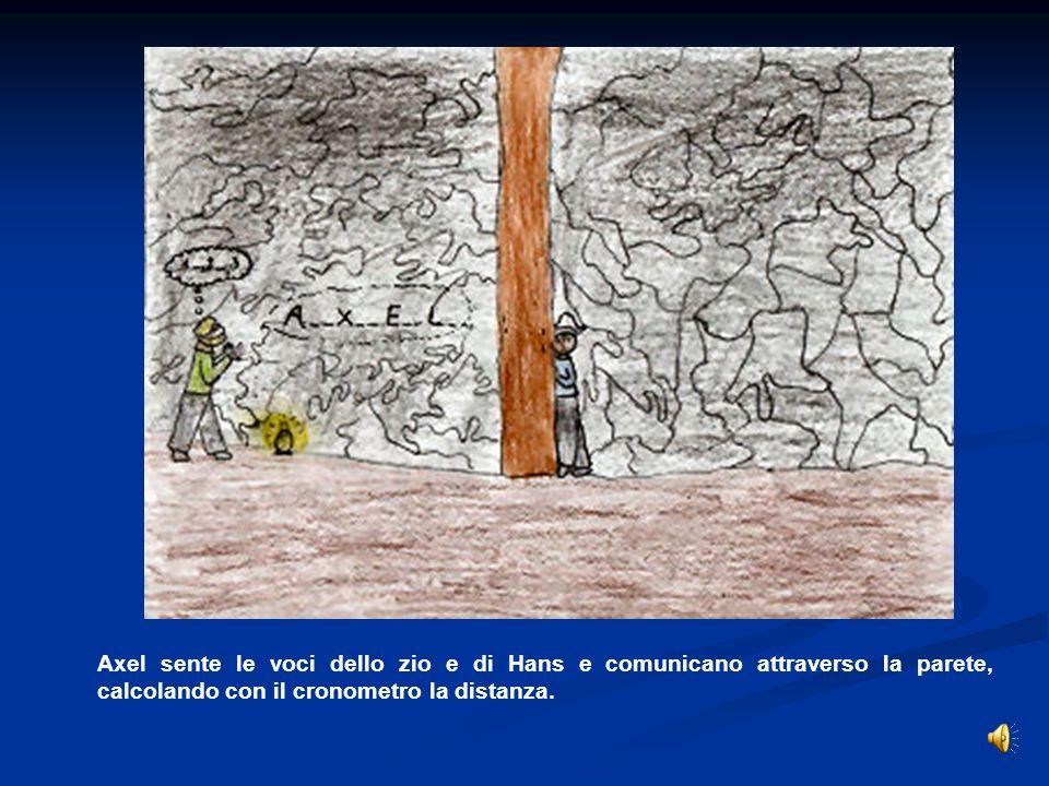 Axel sente le voci dello zio e di Hans e comunicano attraverso la parete, calcolando con il cronometro la distanza.