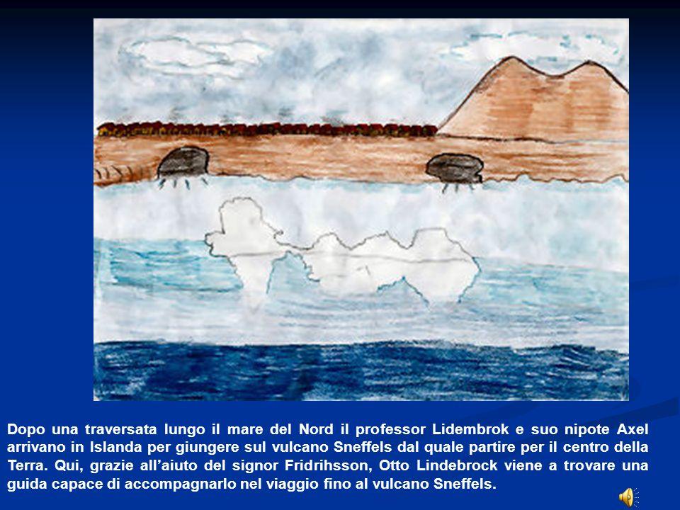 Dopo aver viaggiato alcuni giorni lungo la costa islandese e trovato ristoro in 2 paesi, il professore, Axel e la guida Hans giungono al vulcano Sneffels e cominciano a discenderlo legandosi ad una corda.