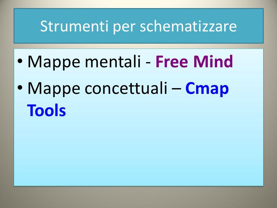 Strumenti per schematizzare Mappe mentali - Free Mind Mappe concettuali – Cmap Tools Mappe mentali - Free Mind Mappe concettuali – Cmap Tools