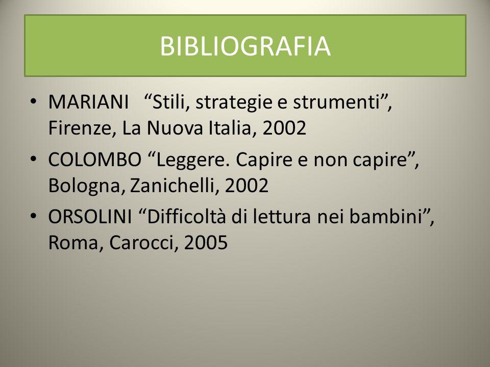 BIBLIOGRAFIA MARIANI Stili, strategie e strumenti, Firenze, La Nuova Italia, 2002 COLOMBO Leggere. Capire e non capire, Bologna, Zanichelli, 2002 ORSO