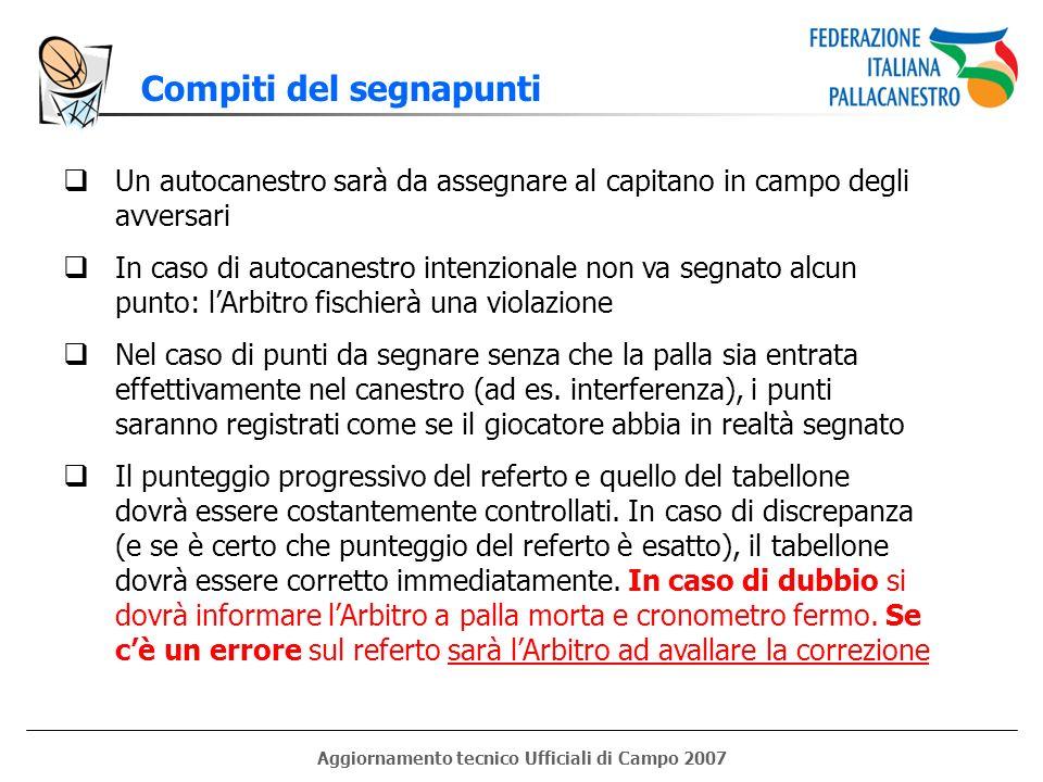 Aggiornamento tecnico Ufficiali di Campo 2007 Compiti del segnapunti Un autocanestro sarà da assegnare al capitano in campo degli avversari In caso di