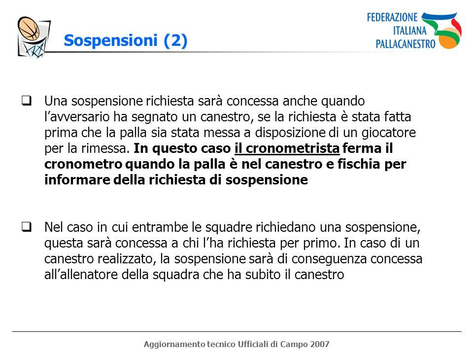 Aggiornamento tecnico Ufficiali di Campo 2007 Sospensioni (2) Una sospensione richiesta sarà concessa anche quando lavversario ha segnato un canestro,