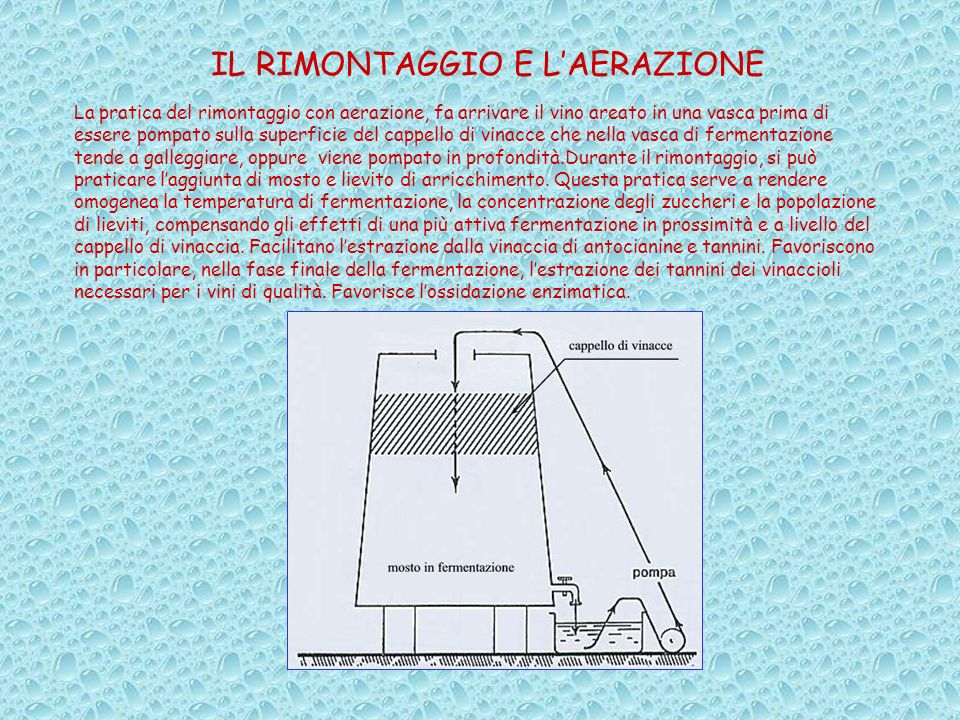 IL RIMONTAGGIO E LAERAZIONE La pratica del rimontaggio con aerazione, fa arrivare il vino areato in una vasca prima di essere pompato sulla superficie