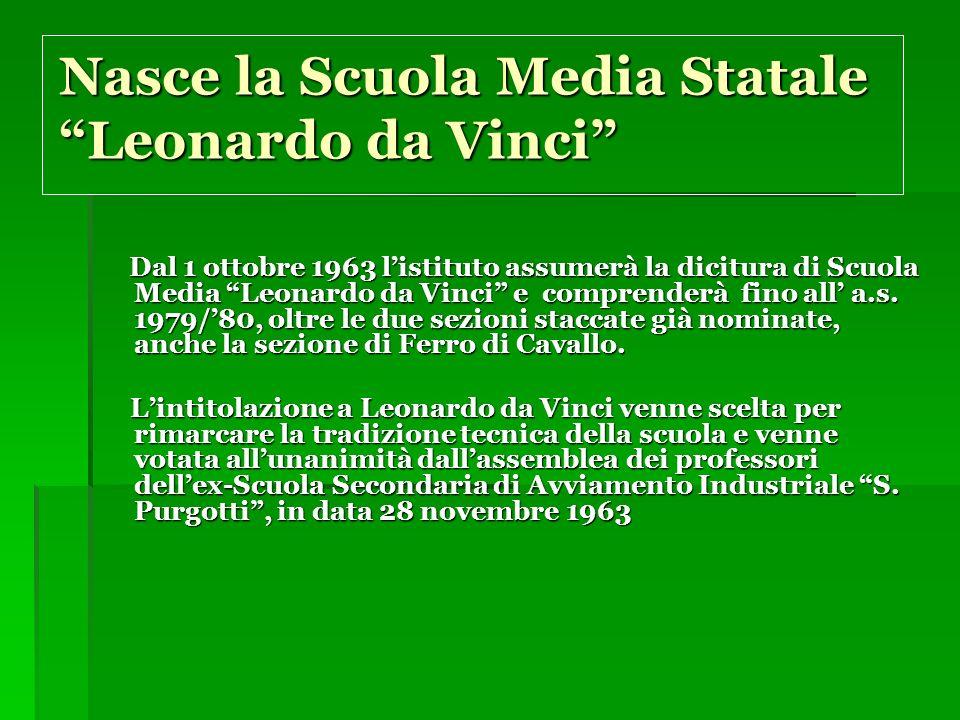 Nasce la Scuola Media Statale Leonardo da Vinci Dal 1 ottobre 1963 listituto assumerà la dicitura di Scuola Media Leonardo da Vinci e comprenderà fino all a.s.