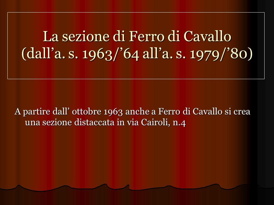 La sezione di Ferro di Cavallo (dalla.s. 1963/64 alla.