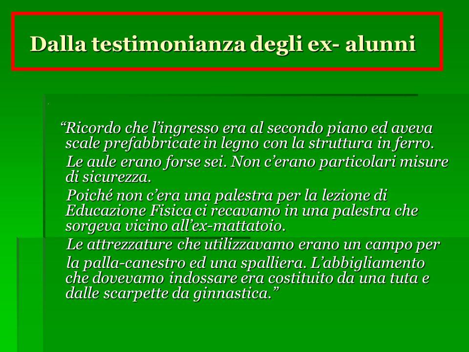 Dalla testimonianza degli ex- alunni Dalla testimonianza degli ex- alunni.