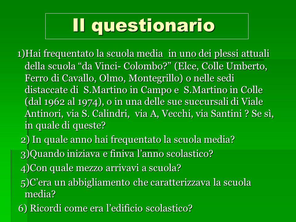 Il questionario Il questionario 1)Hai frequentato la scuola media in uno dei plessi attuali della scuola da Vinci- Colombo.