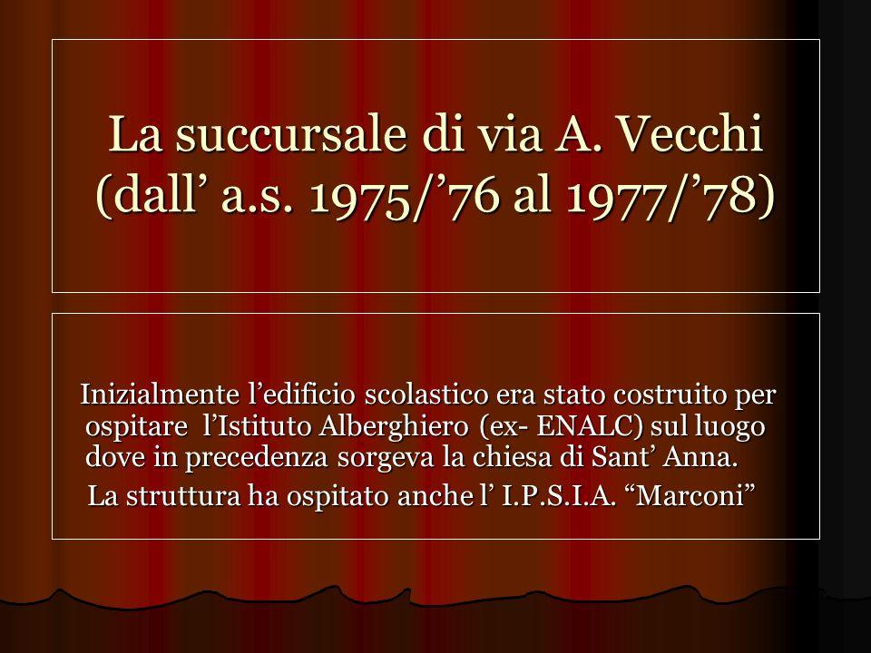 La succursale di via A.Vecchi (dall a.s.