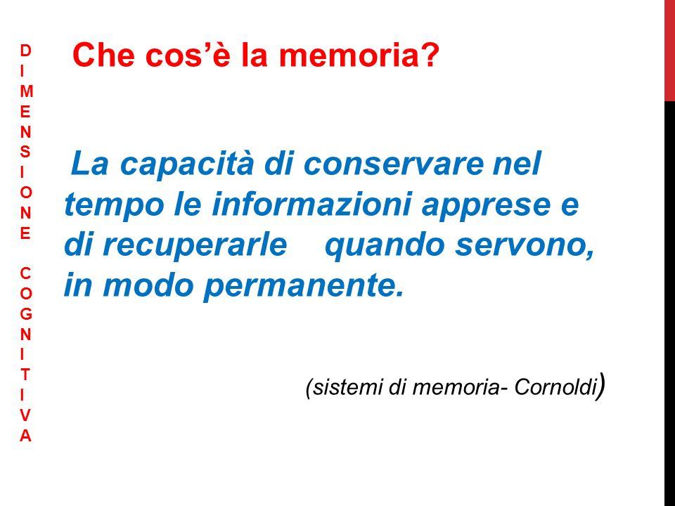 Che cosè la memoria? La capacità di conservare nel tempo le informazioni apprese e di recuperarle quando servono, in modo permanente. (sistemi di memo