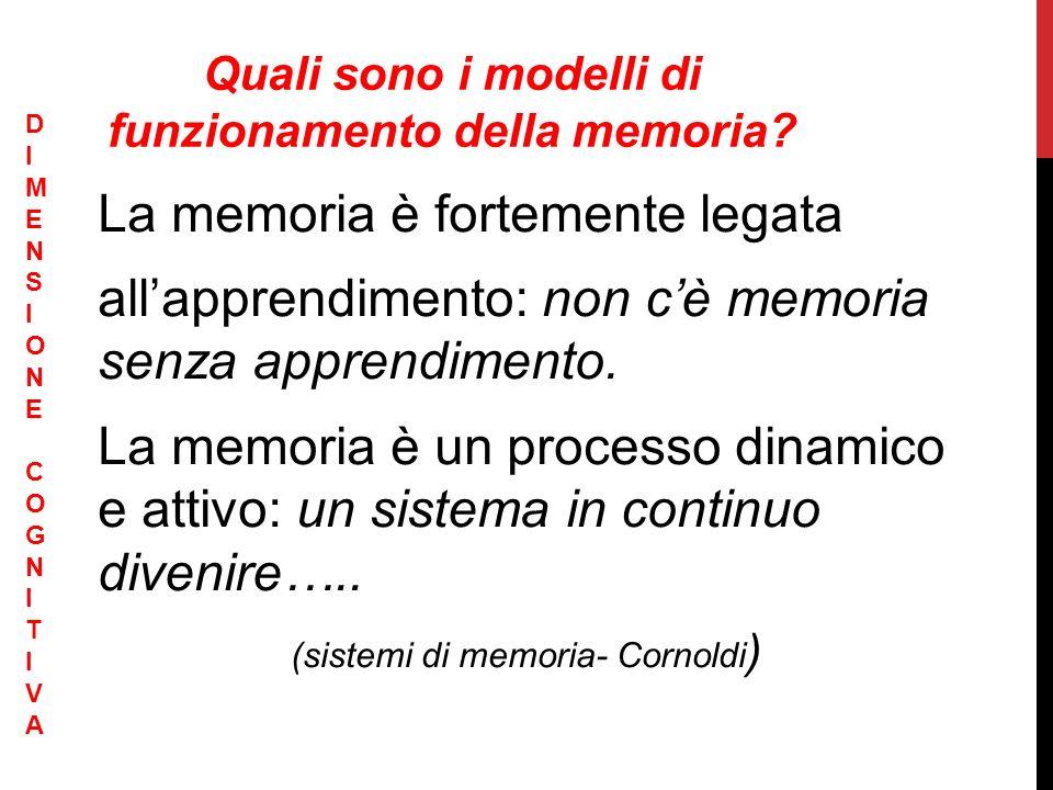La memoria è fortemente legata allapprendimento: non cè memoria senza apprendimento. La memoria è un processo dinamico e attivo: un sistema in continu