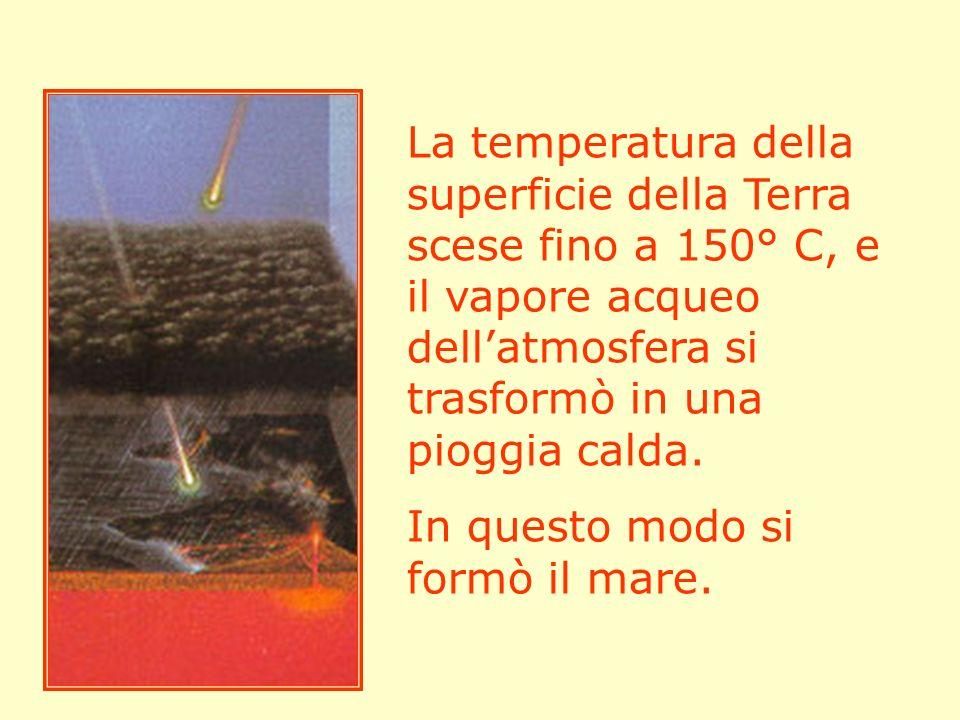 La temperatura della superficie della Terra scese fino a 150° C, e il vapore acqueo dellatmosfera si trasformò in una pioggia calda. In questo modo si