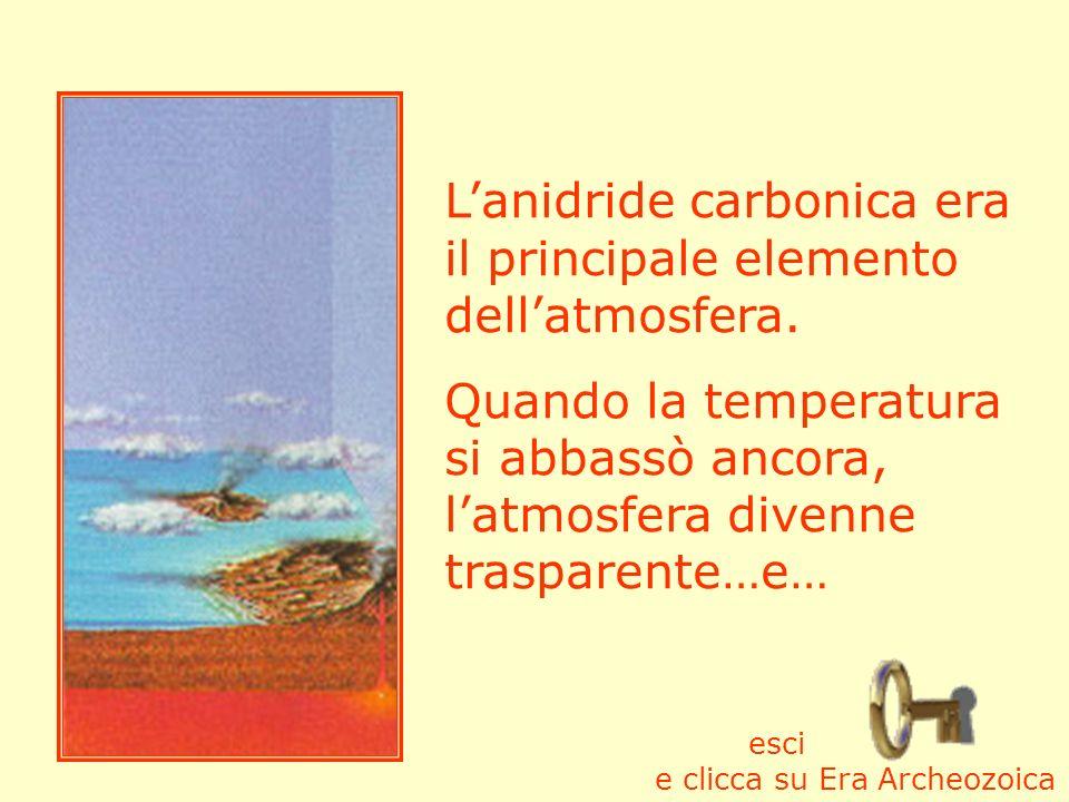 Lanidride carbonica era il principale elemento dellatmosfera. Quando la temperatura si abbassò ancora, latmosfera divenne trasparente…e… esci e clicca