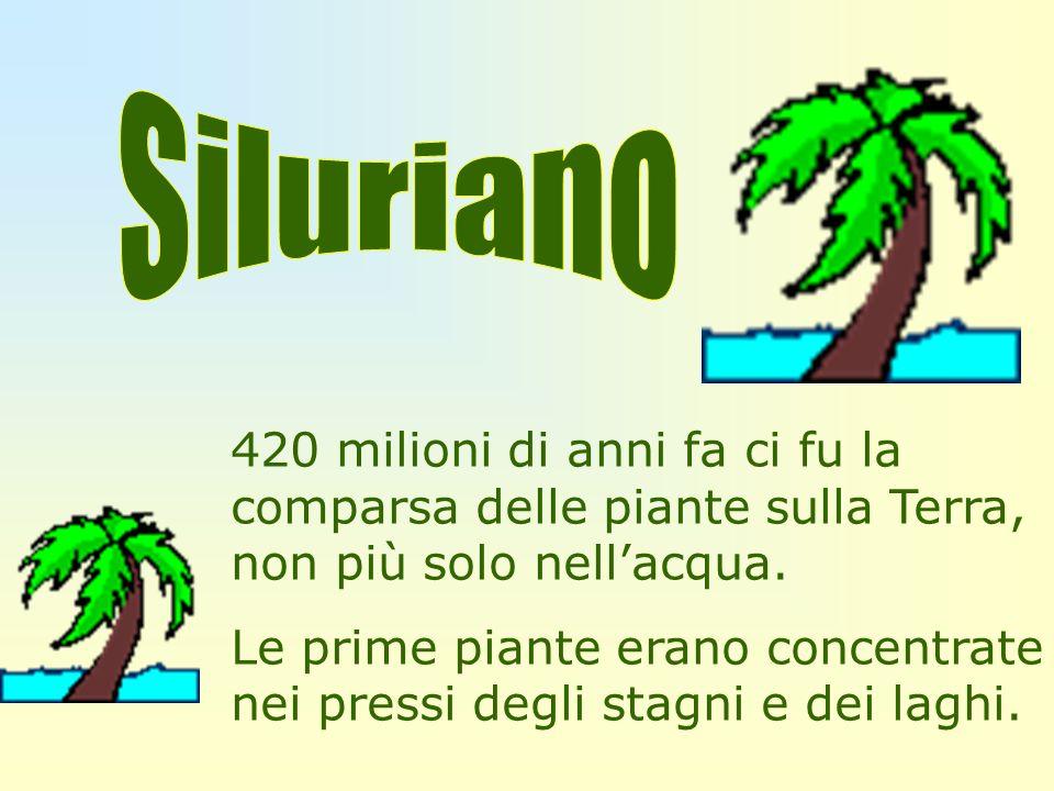 420 milioni di anni fa ci fu la comparsa delle piante sulla Terra, non più solo nellacqua. Le prime piante erano concentrate nei pressi degli stagni e