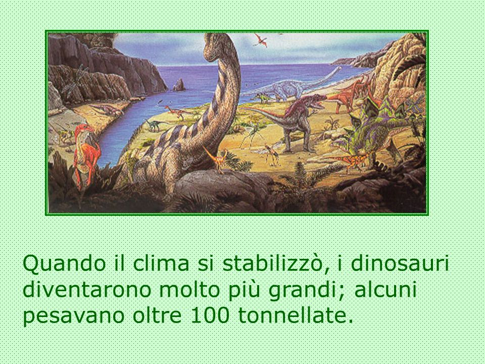Quando il clima si stabilizzò, i dinosauri diventarono molto più grandi; alcuni pesavano oltre 100 tonnellate.